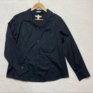 Chico's Black No-iron 2 Blouse Top Shirt L 12